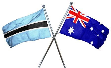 isolation backdrop: Botswana flag combined with australian flag