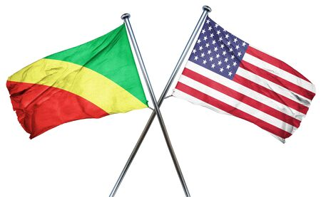isolation backdrop: Congo flag combined with american flag Stock Photo