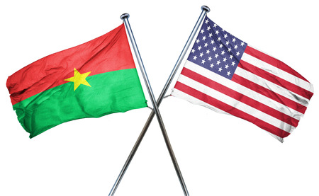 isolation backdrop: Burkina Faso flag combined with american flag
