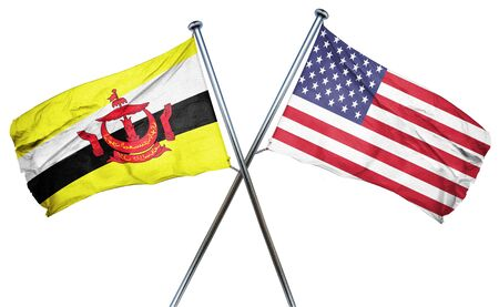 combined: Brunei flag combined with american flag