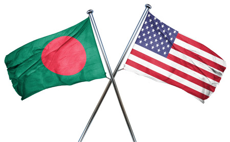 isolation backdrop: Bangladesh flag combined with american flag Stock Photo