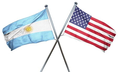 isolation backdrop: Argentina flag combined with american flag