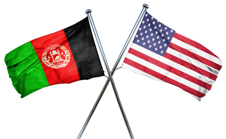 isolation backdrop: Afghanistan flag combined with american flag