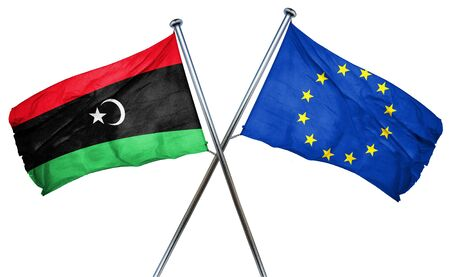 combined: Libya flag combined with european union flag Stock Photo