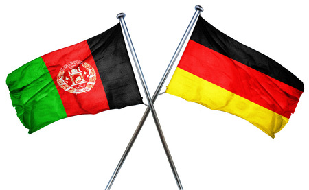isolation backdrop: Afghanistan flag combined with germany flag
