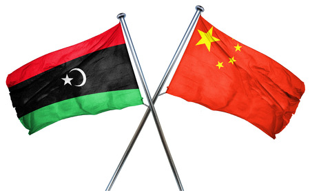 isolation backdrop: Libya flag combined with china flag Stock Photo
