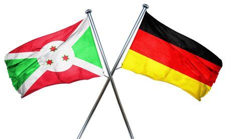 isolation backdrop: Burundi flag combined with germany flag Stock Photo