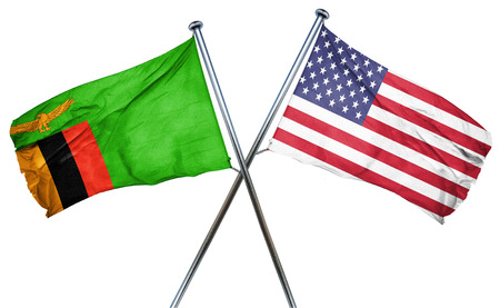 zambian flag: Zambia flag combined with american flag Stock Photo