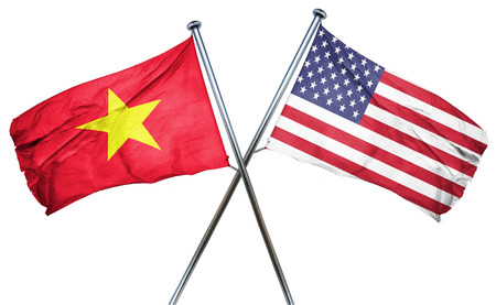treaty: Vietnam flag combined with american flag Stock Photo