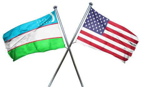 uzbekistan: Uzbekistan flag combined with american flag
