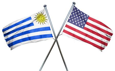 bandera de uruguay: bandera de Uruguay combinó con la bandera americana Foto de archivo