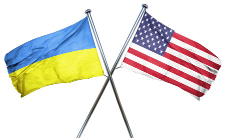 ukranian: Ukraine flag combined with american flag
