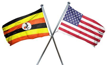 uganda: Uganda flag combined with american flag Stock Photo
