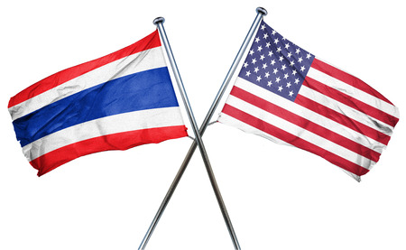 combined: Thailand flag combined with american flag