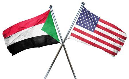 treaty: Sudan flag combined with american flag Stock Photo