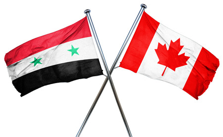 isolation backdrop: Syria flag combined with canada flag Stock Photo