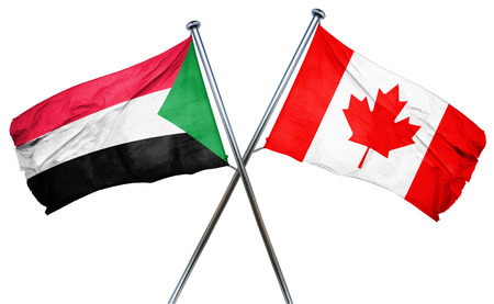 isolation backdrop: Sudan flag combined with canada flag Stock Photo