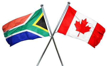 남아 프리카 공화국 국기와 결합 된 캐나다 국기 스톡 콘텐츠