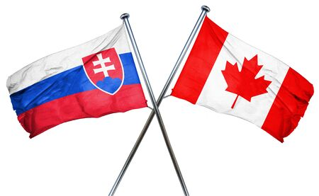 isolation backdrop: Slovakia flag combined with canada flag Stock Photo