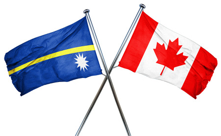 isolation backdrop: Nauru flag combined with canada flag Stock Photo
