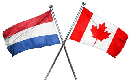 isolation backdrop: Netherlands flag combined with canada flag