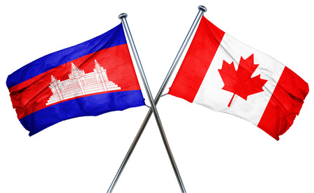 isolation backdrop: Cambodia flag combined with canada flag