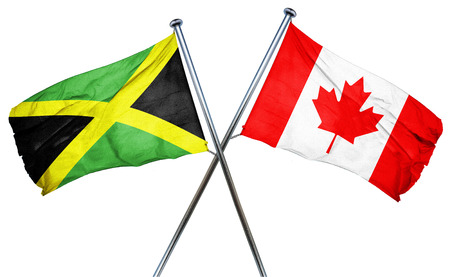 Jamaica flag combined with canada flag 版權商用圖片