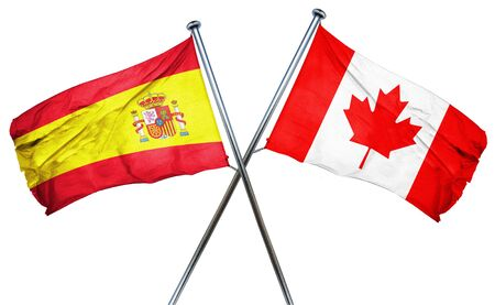 spanish flag: Spanish flag combined with canada flag Stock Photo