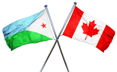 isolation backdrop: Djibouti flag combined with canada flag
