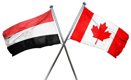 isolation backdrop: Yemen flag combined with canada flag