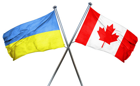 combined: Ukraine flag combined with canada flag