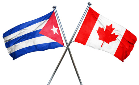 Cuba flag combined with canada flag