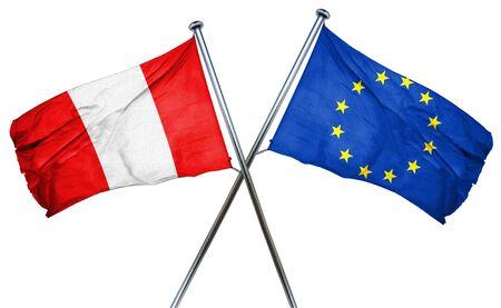 european culture: Peru flag combined with european union flag