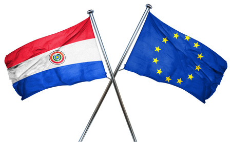 isolation backdrop: Paraguay flag combined with european union flag Stock Photo