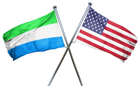 isolation backdrop: Sierra Leone flag combined with american flag