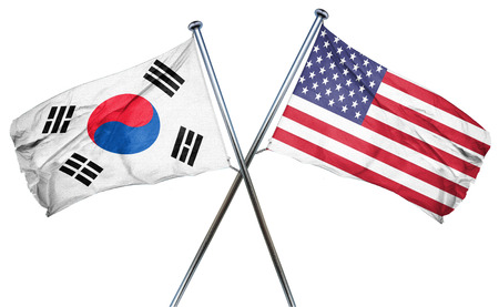 amity: South korea flag combined with american flag Stock Photo