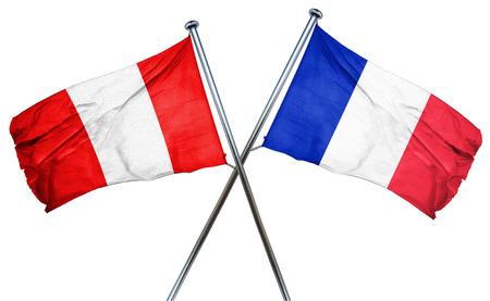 bandera de peru: bandera de Perú combinado con la bandera de Francia Foto de archivo