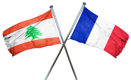 Lebanon flag combined with france flag