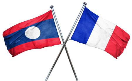 french culture: Laos flag combined with france flag Stock Photo