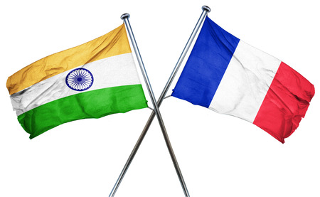 french culture: India flag combined with france flag Stock Photo