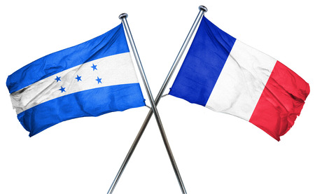 amity: Honduras flag combined with france flag Stock Photo