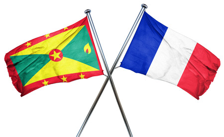 isolation backdrop: Grenada flag combined with france flag