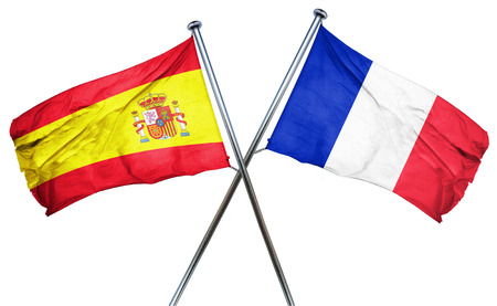 isolation backdrop: Spanish flag combined with france flag Stock Photo