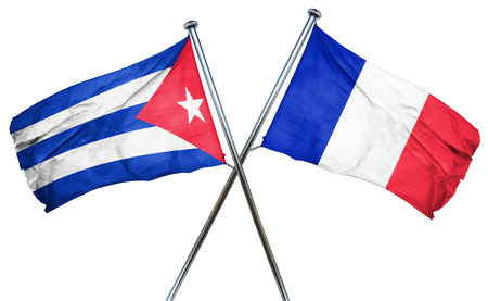 isolation backdrop: Cuba flag combined with france flag
