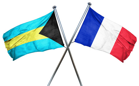 combined: Bahamas flag combined with france flag Stock Photo