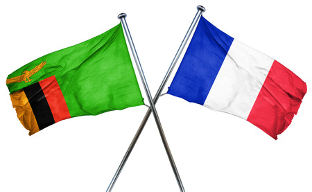 zambian: Zambia flag combined with france flag Stock Photo