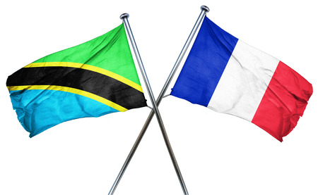 combined: Tanzanian flag combined with france flag Stock Photo