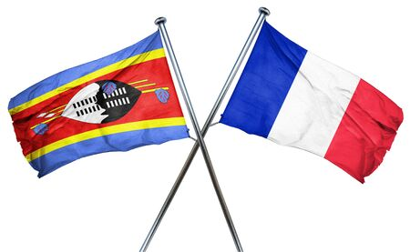 combined: Swaziland flag combined with france flag Stock Photo