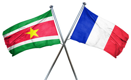 isolation backdrop: Suriname flag combined with france flag Stock Photo