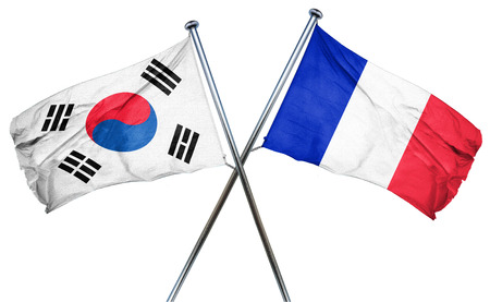 isolation backdrop: South korea flag combined with france flag